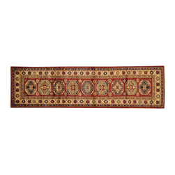 1800-Get-A-Rug - Red Hand Knotted 100% Wool Tribal Super Kazak Oriental Rug Runner Sh16557 - Our Tribal & Geometric hand knotted rug collection, consists of classic rugs woven with geometric patterns based on traditional tribal motifs. You will find Kazak rugs and flat-woven Kilims with centuries-old classic Turkish, Persian, Caucasian and Armenian patterns. The collection also includes the antique, finely-woven Serapi Heriz, the Mamluk Afghan, and the traditional village Persian rug.