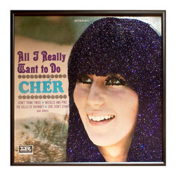"""Glittered Cher All I Really Want Album - Glittered record album. Album is framed in a black 12x12"""" square frame with front and back cover and clips holding the record in place on the back. Album covers are original vintage covers."""