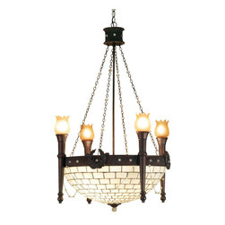 """Meyda Tiffany - 30""""W Torch & Wreath 4 Arm Chandelier W Invert - This regal chandelier offers an inverted stained-glass shade featuring a Beige brick patterned background. This handsome fixture is crafted with a Mahogany Bronze finished ring that is adorned with matching wreaths and Clear jewels, and torch arms that support Amber glass lights."""