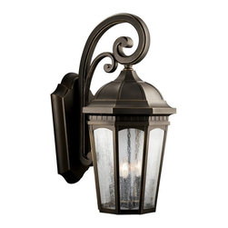 KICHLER - KICHLER Courtyard Traditional Outdoor Wall Sconce X-ZR5309 - From the Courtyard Collection, this Kichler Lighting outdoor wall sconce features a traditional but timeless lantern shape that is complimented by a warm Rubbed Bronze finish. This light fixture also features clear seedy glass panels that add a subtle modern touch to the look. U.L. listed for wet locations.