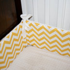Chevron Custom Crib Bumper Boy or Girl by Tuft Love Fabric - Sally Jensen makes beautiful custom chevron crib bumpers. I love the idea of mixing a chevron bumper with a patterned sheet — maybe polka dots, or even elephants.
