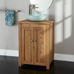 "24"" Palu Teak Vessel Sink Vanity - The 24"" Palu Vanity is made of teak wood and features a spacious interior cabinet. Customize this vanity with a coordinating vessel sink and faucet."