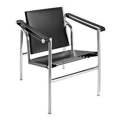 """LexMod - Charles Leather Lounge Chair in Black - Charles Leather Lounge Chair in Black - Charles inspired campaign chair, imposing, serious about comfort. Add some poise and position to your room with this intimidatingly excellent piece. Set Includes: One - Le Corbusier LC1 Classic tubular steel design, Polished stainless steel, Taut leatherette slings, Rubber floor stoppers for support, Fully assembled Overall Product Dimensions: 25""""L x 23.5""""W x 25.5""""H Seat Height: 15.5""""H Armrest Height: 24.5""""H - Mid Century Modern Furniture."""