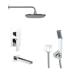 Remer - Square Polished Chrome Shower System - Single function tub and shower faucet.