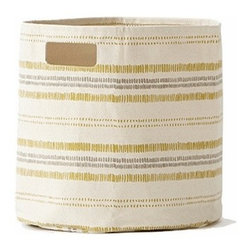 Pehr Citron/Grey Railroad Canvas Storage bin - This whimsical storage bin in squiggly citron yellow and grey horizontal lines is unique and durable. Made from 100% Heavy weight cotton canvas and machine washable. Just one of many prints to choose from, this striped bin will fit perfectly into your child's playroom or bedroom.