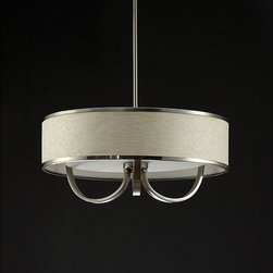 None - White 20-inch Chandelier with Curved Accents - Illuminate your favorite space with this white hanging chandelier. Featuring curved accents that give it a unique flair, this chandelier has a shade with a gleaming metal rim and boasts a modern design that will make it the focal point of any room.