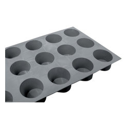 "de Buyer - de Buyer Elastomoules Silicone Mini Mufins - 9 Cavities - Silicone foam mold, non-stick. Carefully designed to guarantee flawless shape and easy release. Can be used for baking and freezing -70"" to +580"" F (300"" C). The mould has sharp angles for a nice appearance. Mold has 9 cavities. Dimensions: Each cavity has 1.2"" H x 1.8"" diameter (3 cm x 4.5 cm). Dishwasher safe.. Made in France."