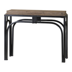 Uttermost - Reidar Console Table - Simply stunning, this console is the ultimate in masculine chic. A finely grained solid wood surface sits atop a strong, crackle-finished black iron base to make a striking statement in your decor.