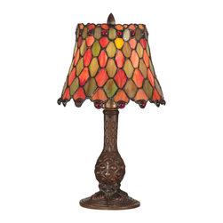Dale Tiffany - Dale Tiffany TA101340 Tiffany Manti Accent Lamp - Shade: Hand Rolled Art Glass