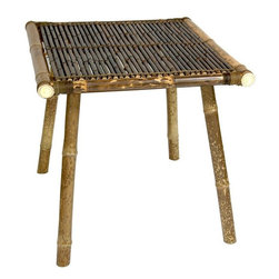 Oriental Furniture - Japanese Bamboo End Table - This is a beautiful and rustic piece of hand crafted furniture, a Japanese design end table. Crafted from whole bamboo and stitched with split bamboo, with an authentic, attractive natural look finish. A large size end table or a great occasional table for between a pair of chairs; an excellent quality, multi purpose, practical table. At over two feet wide, over two feet tall, and over two feet long, this is wonderful multi-purpose decorative accessory. Bamboo is remarkably hard, hardy furniture making material, as hard as oak, and as light as balsa wood.
