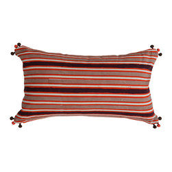 Alamwar - Guatemalan Stripe In Cinnamon And Orange Decorative Pillow - Add a little spice to your pillow collection with this Guatemalan-striped throw. The warm brown and orange color palette strikes a rich contrast to the playful pom pom accents. It's just the right finishing touch to your sofa or side chair.