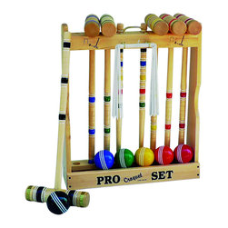 """Amish Handcrafted - Maple Hardwood Croquet Set With Caddy, 6 Player, 24"""" Standard Handle - Authentic Lancaster, PA"""