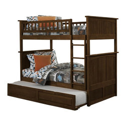 Nantucket Bunk Bed Full Over Full / Raised Panel Trundle / Antique Walnut - Features: