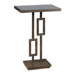 Uttermost - Uttermost 24344  Rubati Accent Table - A warm take on contemporary, this geometric inspired iron table has a unique patina reminiscent of deeply tarnished silver with a hint of dark bronze, inset with a black glass top.