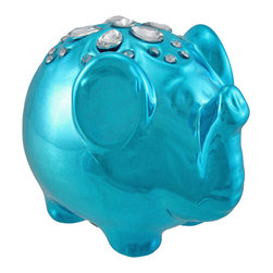 Zeckos - Metallic Blue Lucky Elephant Coin Bank with Rhinestones - This lucky little elephant coin bank has its trunk up, ready to disperse good fortune throughout your home or office. Made of ceramic, it measures 4 1/4 inches long, 3 1/2 inches tall, 3 inches wide, and it is adorned with sparkling rhinestones on its back. Display this elephant in your office and use its reflective surface to see when someone is creeping up behind you, or to see if there is something in your teeth after lunch. Display it in your home on a shelf or table as an adorable knick knack. This piece makes a great gift that is sure to be admired.