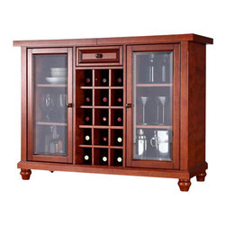 Crosley Furniture - Crosley Cambridge Sliding Top Bar Cabinet in Classic Cherry - Crosley Furniture - Home Bars - KF40002DCH