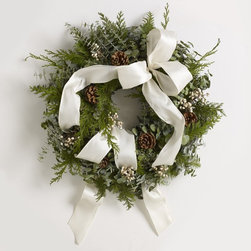 Winter White Wreath - Uncomplicated decor is welcomed during Christmas. This wreath is handcrafted on a Northern California farm, but it can easily be replicated at home.