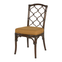 Hammary - Hammary Boracay Dining Chair in Rattan with Fabric Cushion (Set of 2) - The Boracay dining chair by Hammary is inspired by island lifestyle. This rattan chair is has a dark brown stain which is contrasted by the golden colored fabric cushion creating a rich, exotic feel.