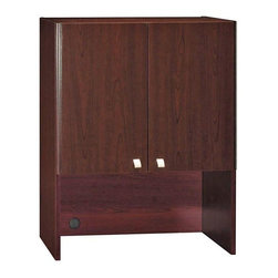 Bush Business - Office Harvest Cherry Colored Storage Hutch w - Add luxury and versatility to your office space with this formal storage hutch in a harvest cherry color.  Open the doors using its sleek, silver knobs for concealed storage with an adjustable shelf or simply store your items underneath them. * Mounts on 30 in. Storage File. Ships fully assembled. Grommet in back panel helps manage wires. Concealed storage with one adjustable shelf. 28.858 in. W x 13.976 in. D x 37.008 in. H