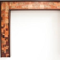 "Ebony Fireplace Mantel ""Mosaic"" design series - ""Mosaic"" fireplace mantel in Wenge with mosaic pattern in Mahgany, Zircote, Bubinga, Rozewood, Walnut, Elm and other burls.  Andre Aloshine"