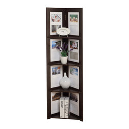 "4D Concepts - 4D Concepts Hanging Corner Picture Shelf 4-Tier in Espresso - Wonderful spacious corner shelving and picture frame unit. These 4 shelves are beautifully placed to utilize any corner space in the home for your shelving needs and show your favorite pictures. The picture opening is 7.5"" x 10.88"" with pre inserted matting which hold 2 pictures that hold a 3.5"" x 5"" picture. The backing has metal fitting that make it easy to slide onto the anchor screws attached to the wall. The hardware comes with drywall anchors so all you need is a drill, drill bit, and screwdriver to fasten the unit to the wall. Constructed of composite board and highly durable PVC laminate. Clean with a dry non abrasive cloth. Assembly required."