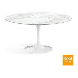 Knoll - Knoll   Saarinen 60-Inch Round Dining Table, Carrara Marble - Quick Ship - Design by Eero Saarinen, 1956.