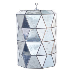 Kathy Kuo Home - Accordion Global Bazaar Antique Mirror Glass Cylinder Pendant Lantern - A trio of lights shines from the mirrored faceted glass, detailed with antique brass trim. Geometric shapes form an hourglass pillar, hanging from a coordinating, adjustable-length chain. Shine some light on your stylish surroundings with this brilliant glass sculpture.