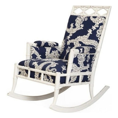 Blue Dragon Rocker - Vintage wood framed bamboo-style rocking chair finished in white wash paint. Fabric is Lily Pulitzer for Kravet's Tail Light.