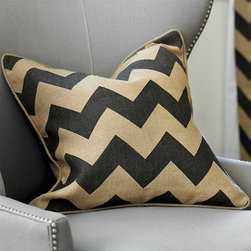Ballard Designs - Chevron Burlap Pillow with Insert - Coordinates with our Chevron Burlap Drapery Panel. Plush feather down insert. Self-piped edge. Hidden zipper. Natural burlap is one of our signature fabrics and the chevron is one of our favorite geometric patterns. So why not combine them in one eye-catching pillow? It's sewn of 100% burlap and screen-printed in a bold charcoal chevron. Chevron Burlap Pillow features: . . . .