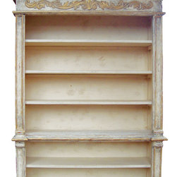Gold Leaf Bookcase, French Blanc with Weathered Grey and Gold Leaf - Gold Leaf Bookcase, French Blanc with Weathered Grey and Gold Leaf
