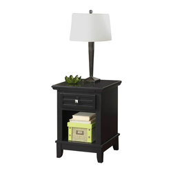 Home Styles - Home Styles Arts and Crafts Black Night Stand - Home Styles - Nightstands - 518142 - Mission Styling at its best!  The Arts and Crafts Night Stand embellishes typical mission styling with a storage drawer showcasing raised wood lattice moldings and slightly flared legs.  Finished in a Black finish over hardwood solids and engineered woods with square Brushed Nickel hardware this night stands simplistic yet detailed design make it an ideal piece for any bedroom setting. The top of the hidden pull-out tray features a scratch and stain resistant finish. Size: 18w 16d 24h