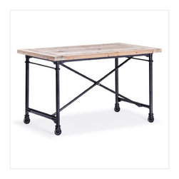 """Zuo era - Reclaimed wood desk Presidio Heights Desk By Zuo  Black Metal & Fir Wood. - Looking for a desk that doesn't look like a desk? This sturdy version made from reclaimed fir and black metal is so handsome you can set up camp in your living room without screaming, """"I work at home.""""  Just put away the spreadsheets."""