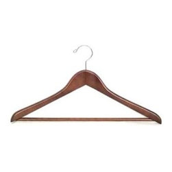 Proman Products - Gemini-concave suit hanger w/wooden bar, ligh - Set of 50. With wooden bar. Chrome hardware