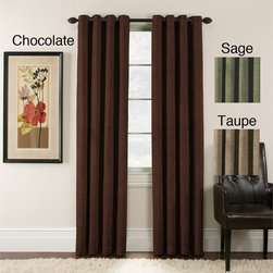 None - Antique Velvet 63-inch Blackout Grommet Top Panel Pair - With their rich color and luxurious detailing,this beautiful grommet top panel adds a sense of style to any room. Crafted from woven-look fabric,each panel is designed to block the light,so you can enjoy complete darkness and privacy at night.