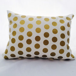 EVERYTHING GOLD - Gold metallic polka dot pattern on ivory cotton blend fabric. The gold metallic foil appliqué has a smooth satin finish. https://www.etsy.com/shop/MyPillowShoppe