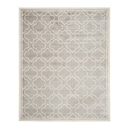 Safavieh - Safavieh Amherst Indoor/ Outdoor Light Grey/ Ivory Rug (8' x 10') - Perfect for any backyard, patio, deck or along the pool, this rug is great for outdoor use as well as any indoor use that requires an easy to maintain rug. Safavieh's Amherst collection was created for today's indoor/outdoor lifestyle.