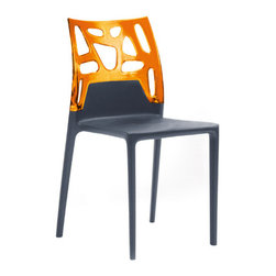Papatya - Ego Rock Chair - Set of 4, Solid Black Frame, Transparent Orange - Ego Rock Chair - Set of 4