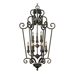 "Golden Lighting - Heartwood Caged Foyer - How does your house say, ""Welcome""? With this chandelier, your foyer is a warm space filled with a welcoming glow. The burnt sienna finish is accented with drip candlestick lights that embody your classic style."