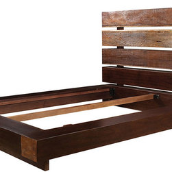 Iggy King Platform Bed Frame - Our eclectic Iggy King Platform Bed frame is handcrafted from exotic demolition hardwoods such as salvaged wood from downed telephone poles and from 100-year-old flooring as well as Brazilian peroba and Chilean Guanacaste. Handcrafted with natural wax finish. This contemporary platform bed frame combines contemporary design with old, reclaimed wood to make a unique, eco-friendly statement. Handsomely weathered peroba wood expose natural variations in tone and texture, rendering a striking headboard built on sleek horizontal lines.
