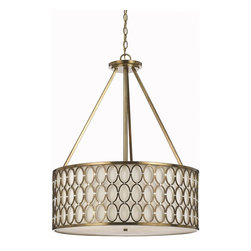 Candice Olson - Candice Olson Cosmo Transitional Pendant Light X-H5-8128 - Take a step back in time with this stylish, mod pendant light by AF Lighting. The satin brass finish gives the metal rings an extra sparkle and glamour, while silver cuffs add a bit of texture. The cream linen shade ensures a brilliant quality of light for any room in your home.