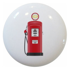 Carolina Hardware and Decor, LLC - Red Vintage Gas Pump Knob - 1 1/2 inch white ceramic knob with one inch mounting hardware included.  Great as a cabinet, drawer, or furniture knob.  Adds a nice finishing touch to any room!