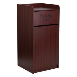 Flash Furniture - Wood Tray Top Receptacle in Mahogany Finish - When in need of a large capacity trash can this push door receptacle by Flash Furniture will be the perfect addition in many environments. The ''Thank You'' text encourages people to place trash in the receptacle and the top is designed for food trays to prevent accidental disposals. The front door allows for easy removal of trash and the floor glides help protect your floors.