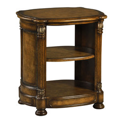 Ambella Home - Larson End Table - A marbled tobacco finish adds a rich tone to this solid end table, crafted from hardwood. Use it in your traditional home to hold books, collectibles, statuary and more. Antique silver embellishments add a luxurious touch.