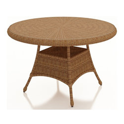 """Forever Patio - Catalina Traditional Wicker 48"""" Round Dining Table, Straw Wicker - The Forever Patio Catalina 48"""" Round Dining Table in Straw Wicker (SKU FP-CAT-48DT-ST) creates a gorgeous dining setting for 4 with its traditional wicker design. The UV-protected, straw-colored wicker incorporates subtle shifts in tones, providing a look that is complex and beautiful. A tempered glass top is included, creating a sleek and easily maintained dining surface. The table top also features an umbrella hole, allowing you to dine in the shade (umbrella not included)."""