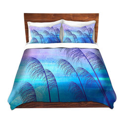DiaNoche Designs - Duvet Cover Twill - Tropical - Lightweight and super soft brushed twill Duvet Cover sizes Twin, Queen, King.  This duvet is designed to wash upon arrival for maximum softness.   Each duvet starts by looming the fabric and cutting to the size ordered.  The Image is printed and your Duvet Cover is meticulously sewn together with ties in each corner and a concealed zip closure.  All in the USA!!  Poly top with a Cotton Poly underside.  Dye Sublimation printing permanently adheres the ink to the material for long life and durability. Printed top, cream colored bottom, Machine Washable, Product may vary slightly from image.