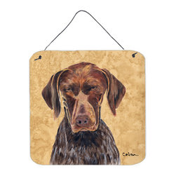 Caroline's Treasures - German Shorthaired Pointer Aluminium Metal Wall Or Door Print - Great for inside or outside these Aluminum prints will add a special touch to your kitchen, bath, front door, outdoor patio or any special place.  6 inches by 6 inches and full of color.  This item will take direct sun for a while before it starts to fade.  Rust and Fade resistant.  Aluminum Print with Hanging Rope.  Rounded Corners.