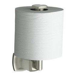 """Kohler - Kohler K-16255-BN Brushed Nickel Margaux Margaux Single Post Vertical - Margaux(tm) vertical toilet tissue holderMargaux accessories create an aura of classic elegance with a variety of finishes that reinforce a sleek, contemporary feel as well as the timelessness of traditional décor.  3""""W x 4-1/2""""D x 7""""H  Classic, fluid styling that won t go out of style  Easy to install template included  Premium metal construction for durability and reliability  Coordinates with Margaux faucets"""