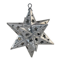 Mexican Artisans - Mexican Punched Tin Star Ornaments-set of 2 - Our punched tin star ornaments are a cheerful and festive addition to your holiday or special occasion decor. These star ornaments each have a section that opens for placement of a light or candle. All of our natural punched tin Christmas ornaments are handcrafted by Mexican artisans.