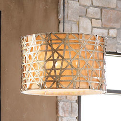 "Horchow - Large Basketweave Light - The outer shade of this basketweave pendant light is handcrafted of silver-leafed metal strips, then finished with black dry brushing and an antiqued stain. Large light is 22""Dia. x 14""T and uses three 60-watt bulbs. Mini light is 8""Dia. x 7""T and...."