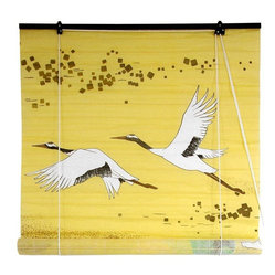 Oriental Furniture - Cranes Shoji Blinds - In Japanese folklore, the Red-Crowned Crane was said to have a lifespan of one thousand years, and as such has come to symbolize luck and longevity. It also represents fidelity, a distinction earned by the fact that this resplendent bird mates for life. This shoji paper blind will meet many of your decorating needs.
